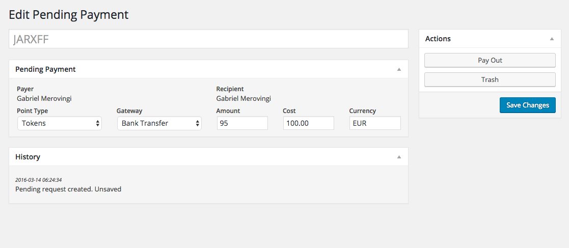 The pending payment editor has been updated to make management easier.