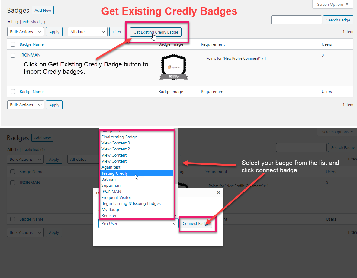 Get existing Credly Badges