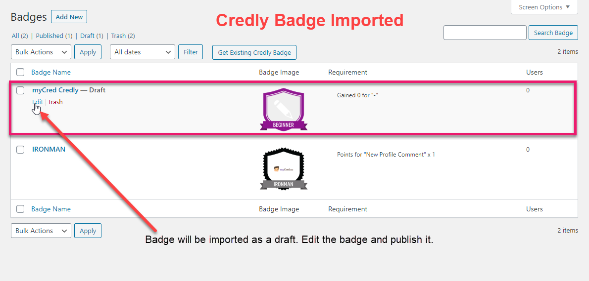 Credly Badge Imported